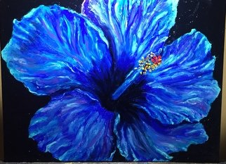 Cindy Pinnock: 'blue hibiscus', 2018 Oil Painting, Floral. Artist Description: Big, Bold, color. This blue hibiscus flower was created with my fingerpainting technique. ...