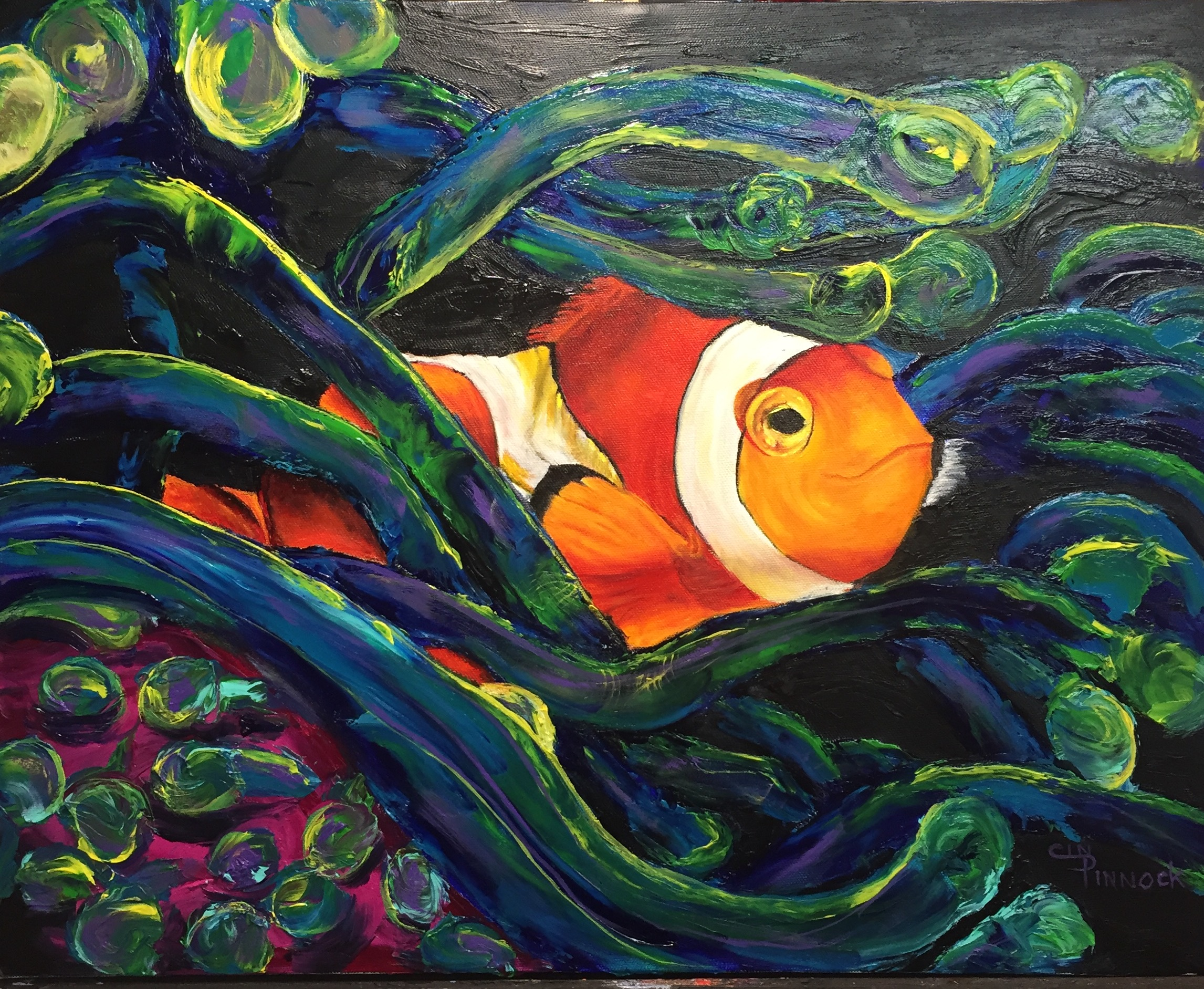 Cindy pinnock artwork clown fish original painting oil for Sea life paintings artists