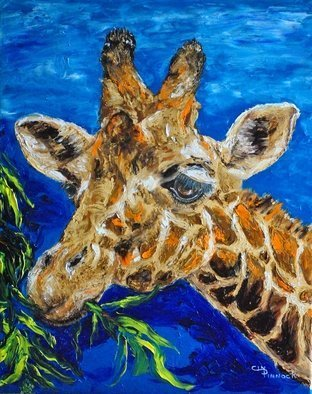 Cindy Pinnock: 'giraffe', 2017 Oil Painting, Wildlife.