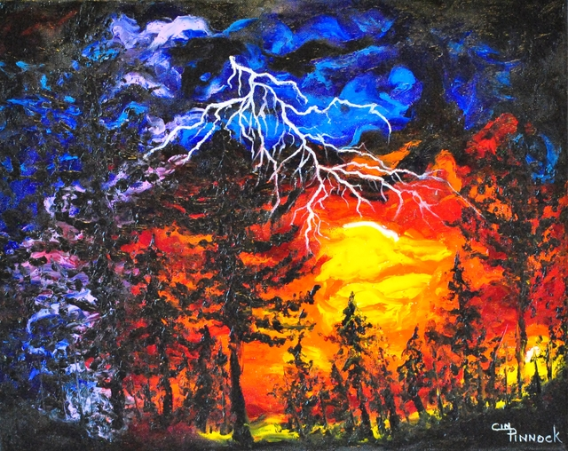 Cindy Pinnock  'Lightning Storm', created in 2017, Original Painting Oil.