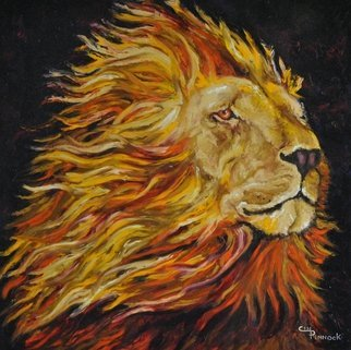 Cindy Pinnock: 'lion', 2017 Oil Painting, Wildlife. Artist Description: Lion, Lion king, framed in black floating frame...