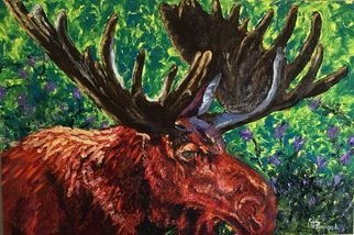 Cindy Pinnock: 'moose', 2017 Oil Painting, Wildlife. Artist Description: Bull Moose, Moose, wildlife art, Moose portrait, nature...
