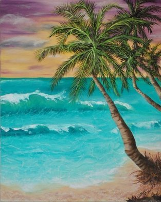 Cindy Pinnock: 'ocean beach scene', 2017 Oil Painting, Seascape. Artist Description: Ocean beach scene, ocean wave, Palm tree, beach paradise, sunset beach, beach, palm tree, tropical, ocean, wave, beach house, ocean view, summer, vacation, original, oil, painting, sunset, ...