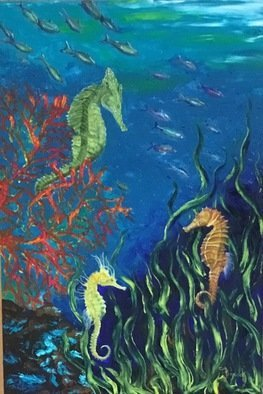 Cindy Pinnock: 'ocean seahorse', 2017 Oil Painting, Sea Life. Artist Description: Seahorse, sea life, ocean life, coral reef black floating frame...