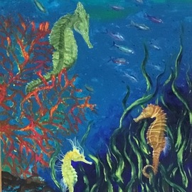 Cindy Pinnock: 'ocean seahorse', 2017 Oil Painting, Sea Life. Artist Description: Seahorse, sea life, ocean life, coral reef, black floating frame, original painting, ocean life, underwater, aquarium, little mermaids, sea...