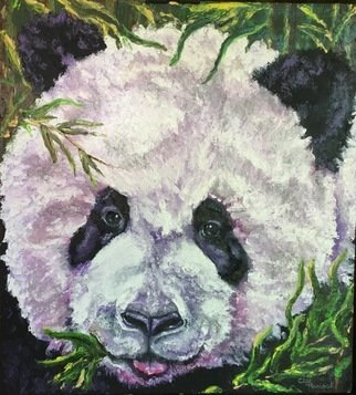 Cindy Pinnock: 'panda', 2017 Oil Painting, Wildlife. Artist Description: Panda, cute panda, giant panda, china, Disney Framed in black floating frame. ...