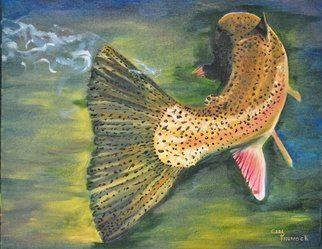 Cindy Pinnock: 'trout tail', 2017 Oil Painting, Fish. Artist Description: Trout fish fishing realistic fish painting Idaho artist steelhead fly fishing brown trout ...