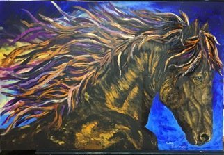 Cindy Pinnock: 'wild horse', 2017 Oil Painting, Horses. Artist Description: Wild Horse, wild Mustang, rodeo, horse painting, western art, animal art, oil painting, abstract, chestnut horse...