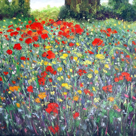 Isidro Cistare: 'amapolas', 2007 Oil Painting, Floral. Artist Description: Oil painting with a lot of material contribution, through spatula and details with thick brush.  Represents poppy fields, with his colorful and classic perspective of the painter which makes him have a very special calligraphy, RG...
