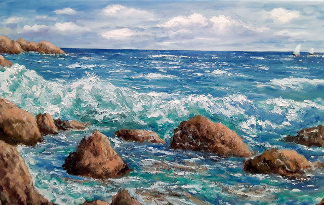Isidro Cistare  'El Mar', created in 2020, Original Painting Oil.