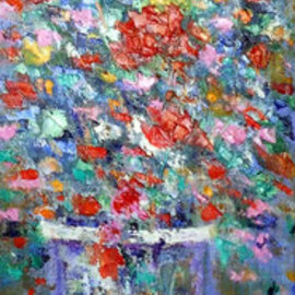 Isidro Cistare: 'florero', 2004 Oil Painting, Floral. Artist Description: Oil painting with a lot of material contribution, through spatula and details with thick brush.  It depicts a full glass vase, with a bouquet of red, white flowers. . . .  branches and green leaves which make a set that the artist has been able to harmonize throughout the painting, with ...