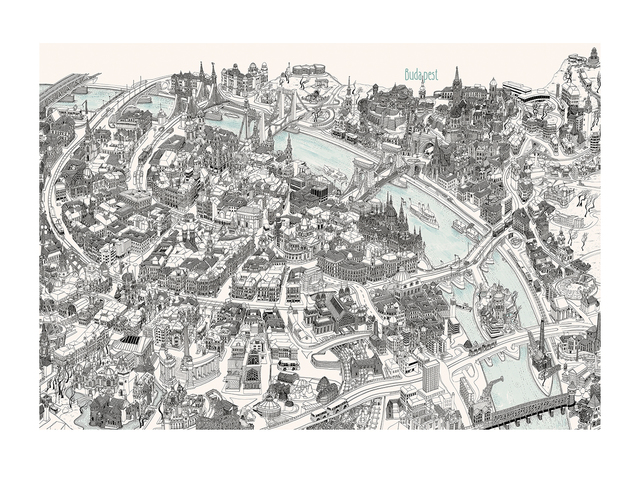 Magyar Bela  'Budapest Birds Eye View Map', created in 1990, Original Drawing Pen.