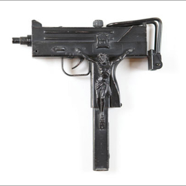 Seyo Cizmic: 'With God on Our Side', 2001 Mixed Media Sculpture, Surrealism. Artist Description:  Seyo Cizmic - With God on Our Side - Antiqued Uzi assault pistol replica with hand- carved crucifix   ...