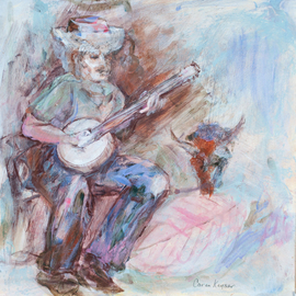Caren Keyser: 'Banjo Man', 2016 Acrylic Painting, Abstract Figurative. Artist Description:  The man in the hat is playing a banjo.  There is a western feel to the painting.  A steer skull appears at the side along with a large leaf- like shape. / blue, green, pink, music, folk, hat, cowboy ...
