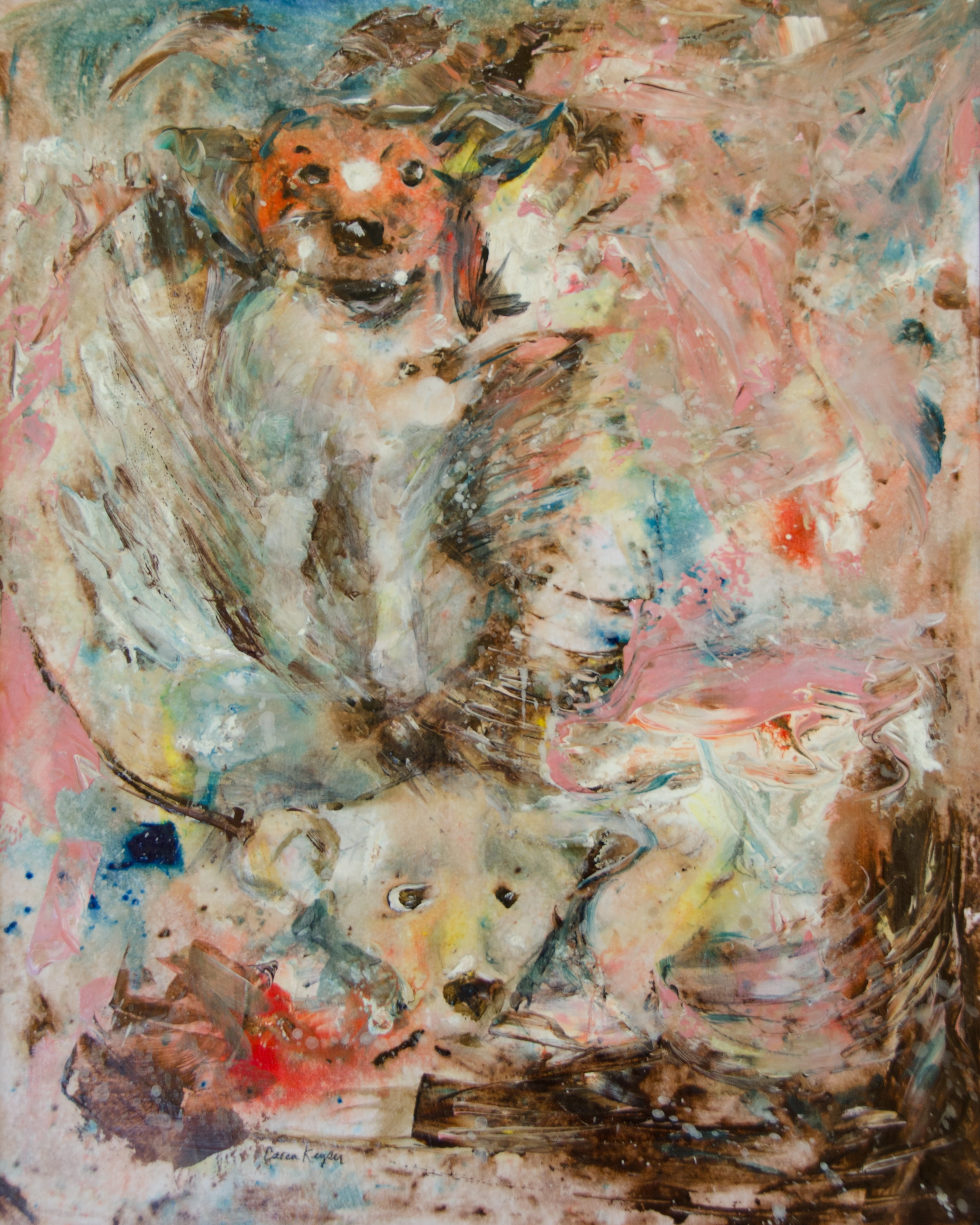 Caren Keyser: 'Bear Dog', 2018 Acrylic Painting, Animals. A hunting dog is chasing a bear into the water making a big splash.  In North Carolina these dogs corner the bear or run it up a tree.  Then hunters use GPS electronic signals from the dog collars to search for the dogs to find the bear.  The painting is ...