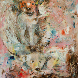 Caren Keyser: 'Bear Dog', 2018 Acrylic Painting, Animals. Artist Description: A hunting dog is chasing a bear into the water making a big splash.  In North Carolina these dogs corner the bear or run it up a tree.  Then hunters use GPS electronic signals from the dog collars to search for the dogs to find the bear.  The ...