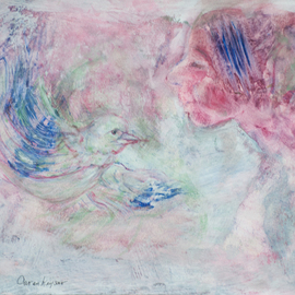 Caren Keyser: 'Bird Song', 2016 Acrylic Painting, Abstract Figurative. Artist Description: The Bird sings its sweet song to the girl. Blue, green, pink, enchanting, nature, beauty, acrylic on paper...