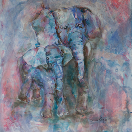 Caren Keyser: 'Blue Elephants', 2016 Acrylic Painting, Animals. Artist Description:  Mom and baby elephant in blues and pinks. Glossy. Acrylic on Yupo. ...