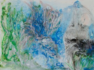 Caren Keyser: 'Cat Caught a Fish', 2016 Acrylic Painting, Cats. Artist Description:  A cat along the right side has something in his mouth, perhaps a fish. There is a watery area in the center of the painting and some greenery to the left. ...