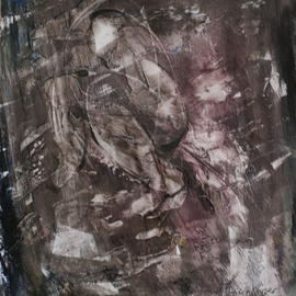 Caren Keyser: 'Crouch', 2015 , Abstract Figurative. Artist Description:  Dark haunting image of a crouching figure. Abstract in its nature and nearly monochromatic in shades of grey and black with hints of color and texture. Acrylic on Paper. Glossy. ...