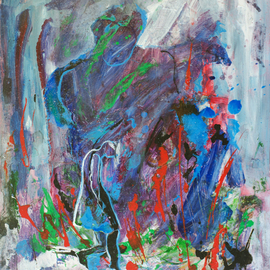 Caren Keyser: 'Dark Rain', 2016 Acrylic Painting, Abstract Figurative. Artist Description:  A woman is struggling forward in the rain storm. Her hair is drenched and falling down. The thundercloud looms overhead ominously.  The painting is acrylic on art board, a firm paper product. ...