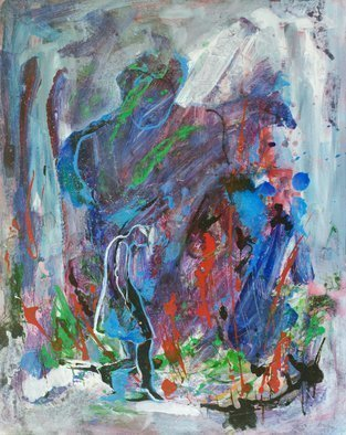 Caren Keyser: 'Dark Rain', 2016 Acrylic Painting, Abstract Figurative.  A woman is struggling forward in the rain storm. Her hair is drenched and falling down. The thundercloud looms overhead ominously. The painting is acrylic on art board, a firm paper product. ...
