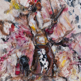 Caren Keyser: 'Dog Man Blues', 2016 , Abstract Figurative. Artist Description:  The spotted dog sits between the mans legs. music, dog, uke, fiddle, blues, musician, pet, dalmation, brown, black, pink, red, yellow, black dog, spot, yupo ...