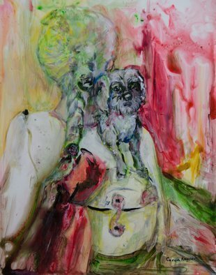 Caren Keyser Artwork Dog Upon Her Shoulder, 2016 Acrylic Painting, Dogs