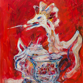 Caren Keyser: 'Dragon Tea', 2016 Acrylic Painting, Still Life. Artist Description:  A fire breathing dragon rises out of the crystal teapot. There is also a crystal bowl with cherries. The china red background gives it an oriental flair. The painting is acrylic on Yupo, a plastic paper. ...