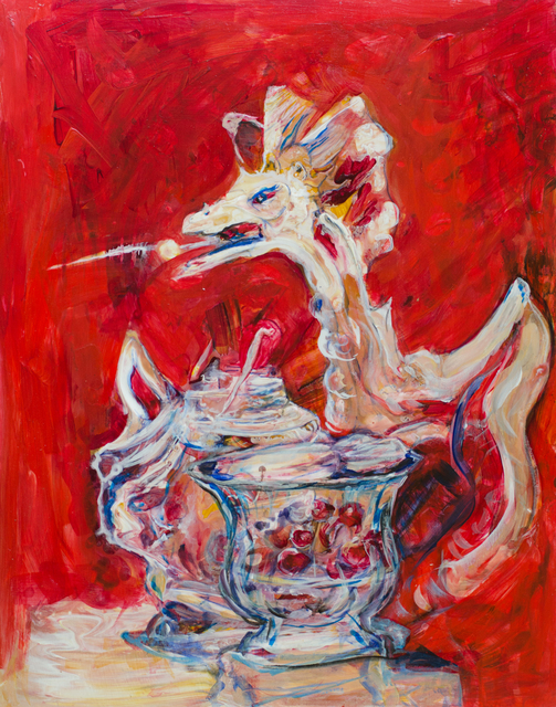 Artist Caren Keyser. 'Dragon Tea' Artwork Image, Created in 2016, Original Mixed Media. #art #artist