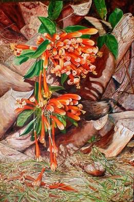 Artist: Caren Keyser - Title: Flamevine Tears - Medium: Acrylic Painting - Year: 2002