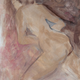 Caren Keyser: 'Fleeing Nude', 2015 , Abstract Figurative. Artist Description:  Nude female figure appears to be fleeing. Neutral colors. Acrylic on Paper. ...