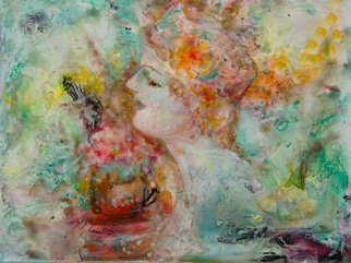 Caren Keyser Artwork Flowers In Her Hair, 2015 Acrylic Painting, Abstract Figurative