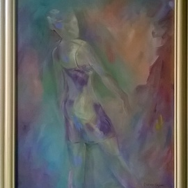 Caren Keyser: 'Girl in the Dress', 2015 Acrylic Painting, Figurative. Artist Description:  Ready for an evening out she emerges from the canvas in her sexy spaghetti strap dress. Acrylic on stretched canvas. She began as a nude but then I added the dress. I like that little dress. ...