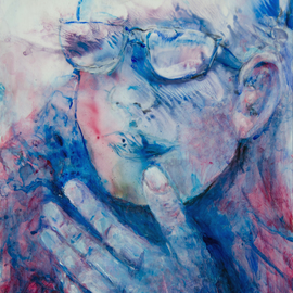 Caren Keyser Artwork Hand and Glasses, 2016 Acrylic Painting, Abstract Figurative