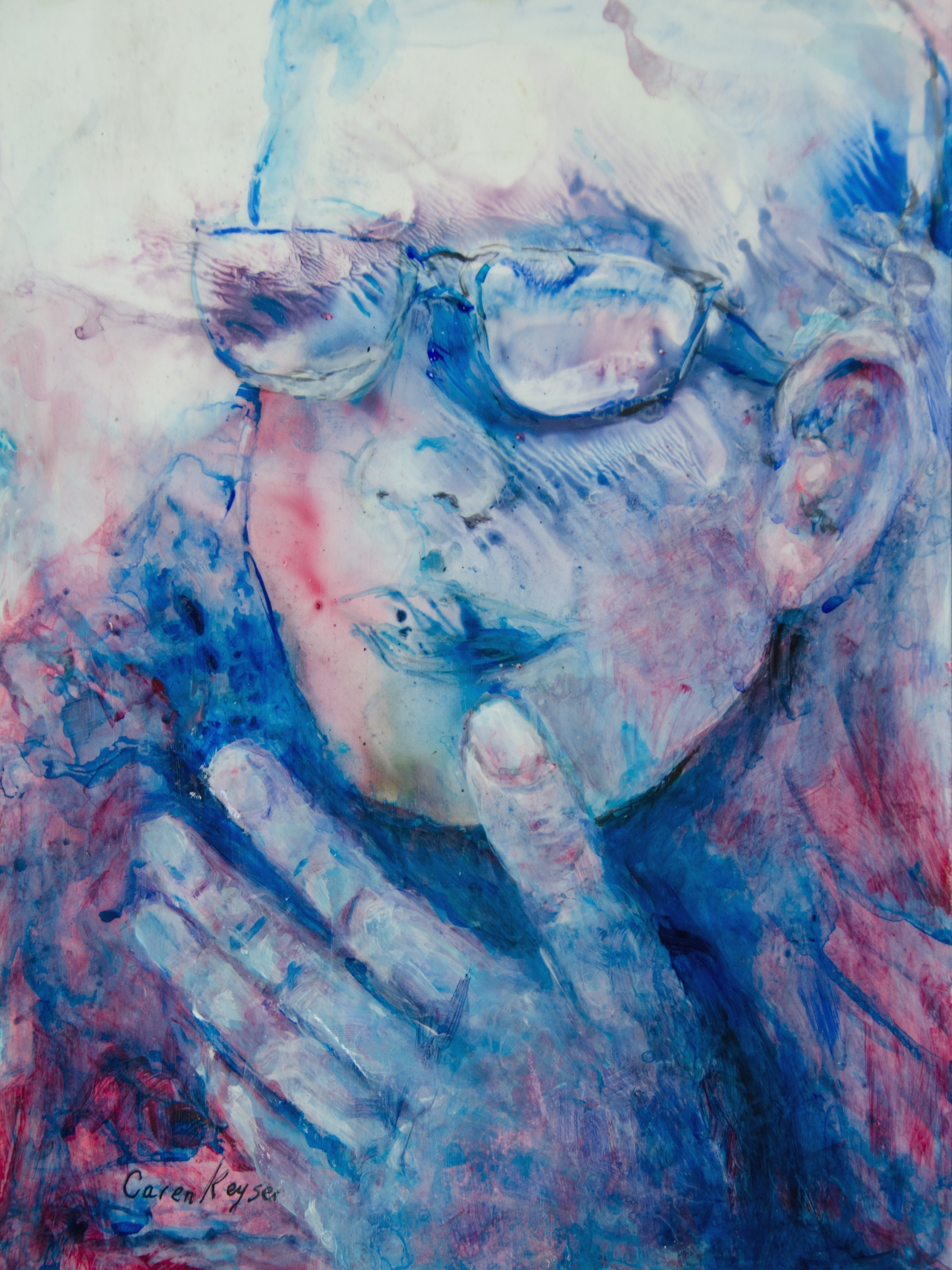 Caren Keyser: 'Hand and Glasses', 2016 Acrylic Painting, Abstract Figurative. Artist Description:  Glasses and a hand to the chin dominate this painting in blues and reds. This is an intuitive painting where the face was found in the abstract application of acrylic paint to Yupo, a synthetic plastic paper. ...