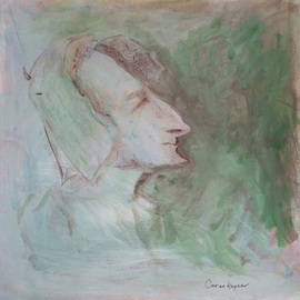 Caren Keyser: 'Icabod', 2015 Acrylic Painting, Abstract Figurative. Artist Description:  A face reminiscent of Icabod Crane. Acrylic on artboard....