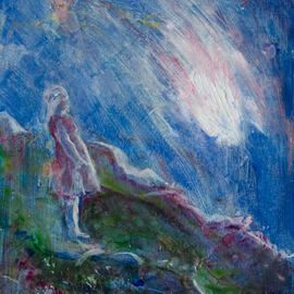 Caren Keyser: 'It Fell From the Sky', 2016 Acrylic Painting, Abstract Figurative. Artist Description:  There is a bright glow from an object falling through the night sky. The girl watches it from the hillside. The atmosphere in this painting is enhanced by the use of an iridescent glaze over the entire painting. ...