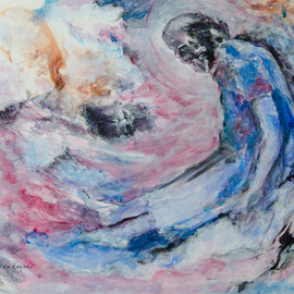 Caren Keyser: 'Old Man', 2016 Acrylic Painting, Abstract Figurative. Artist Description:  Is the old man floating on a wave  Or is it a cloud  Is he wearing a hospital gown  The images in my paintings come to me from my subconscious.  In this case, the mans face came nearly complete and I found it there in the brushstrokes. ...