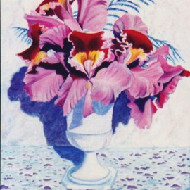 Caren Keyser: 'Orchid Vase', 1982 Acrylic Painting, Still Life. Artist Description: A hobnail vase filled with orchids on a crochet table cover....