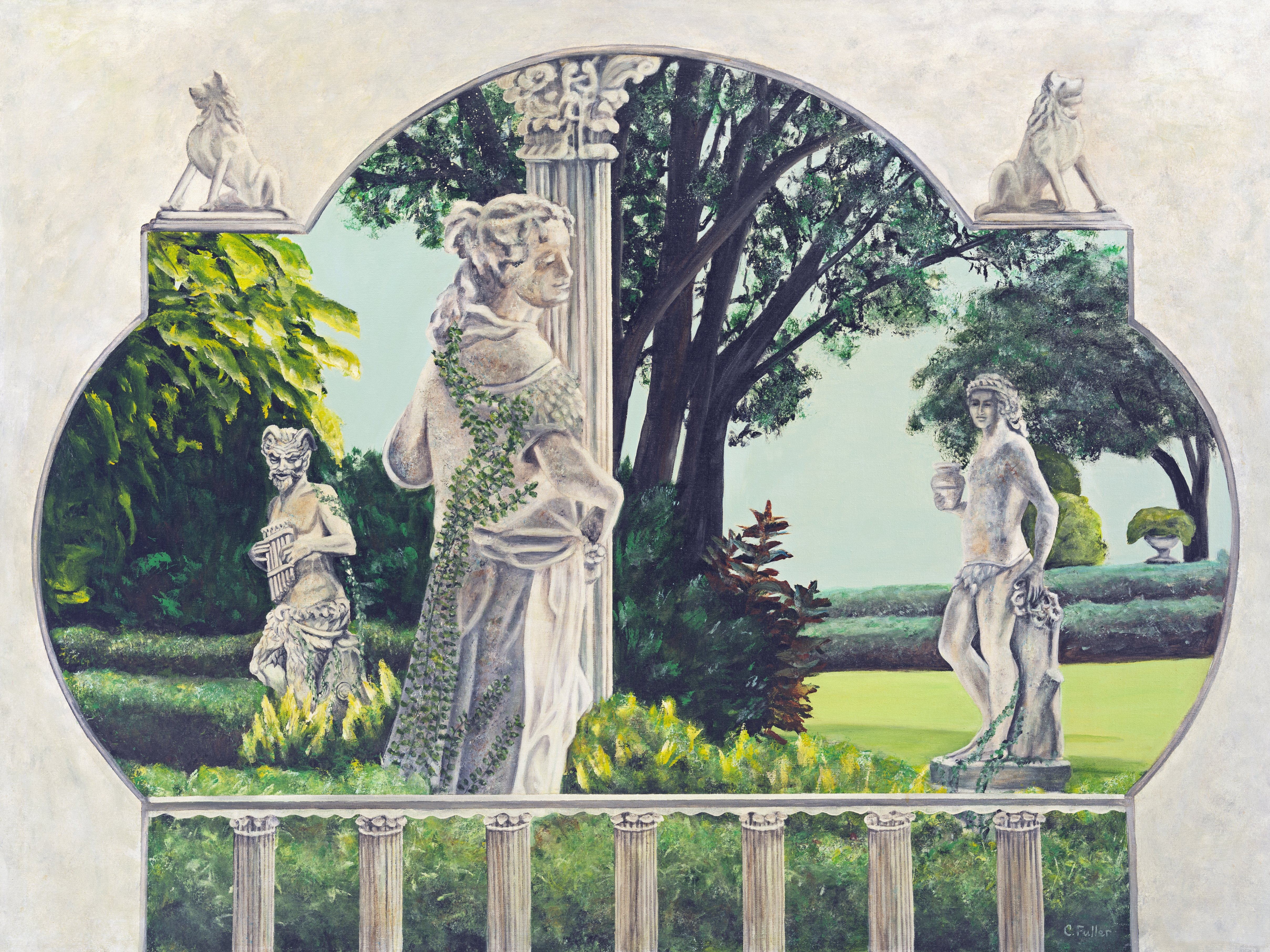 Caren Keyser: 'Pan s Garden of Delight', 1997 Acrylic Painting, Mythology. Artist Description: Romance flourishes in this garden, encouraged by Pan playing his music to encourange them in their devilment. ...