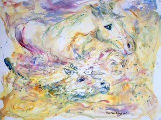 Caren Keyser: 'Steeplechase Spill', 2015 Acrylic Painting, Animals.  Horses and rider are all in the water. Even the saddle is gone. This steeplechase spill is captured in yellows and other pastel colors. The acrylic paints flow on the Yupo papers plastic surface. ...
