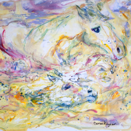 Caren Keyser: 'Steeplechase Spill', 2015 Acrylic Painting, Animals. Artist Description:  Horses and rider are all in the water. Even the saddle is gone. This steeplechase spill is captured in yellows and other pastel colors. The acrylic paints flow on the Yupo papers plastic surface. ...