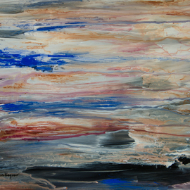 Caren Keyser: 'Submarine', 2016 Acrylic Painting, Abstract. Artist Description:  Streaks of color spread across the sheet of Yupo synthetic paper. The horizontal lines create an abstract painting that hints of water and sky. In the foreground there may be a submarine or is it more like water washing on a sandy shoal or just a smooth patch ...