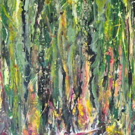 Caren Keyser: 'Swamp on Fire', 2014 Acrylic Painting, Abstract. Artist Description:  Most of the paint is poured onto the canvas in this image of a swamp or forest with a boat in the water at the bottom.  Flames lick up into the trees around the boat. ...