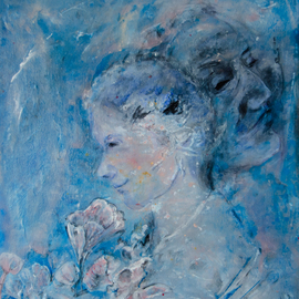 Caren Keyser: 'The Bouquet', 2016 Acrylic Painting, Abstract Figurative. Artist Description: A romantic image of a woman holding a bouquet of flowers. Is the image of a man behind her in her thoughts or actually thereAcrylic on artboard with a glossy, textured surface. ...