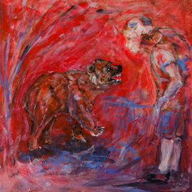 Caren Keyser: 'The Encounter', 2016 Acrylic Painting, Abstract Figurative. Artist Description:  Boy meets Bear in the woods. encounter, brown, bear, fear, interest, surprise, fur, backpack, orange, red, blue, teeth, claws, growl...
