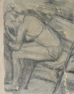 Caren Keyser: 'Thinking About Things', 2015 Mixed Media, Figurative.  This is a drawing transferred to painted artboard. The girl is in a pensive posture, possibly thinking about perplexing things. I have been told the drawing is reminiscent of Degas. I can only hope. Each transfer from this drawing is unique due to the process. A photocopy is applied to...