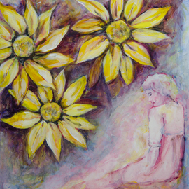 Caren Keyser: 'Thoughts in the Garden', 2016 Acrylic Painting, Abstract Figurative. Artist Description:  Yellow flowers fill most of the picture frame but below is the woman who is conjuring up that garden of yellow in her thoughts. ...