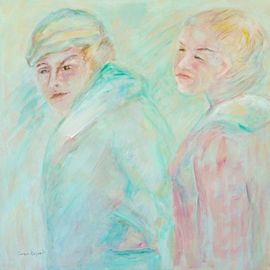 Caren Keyser: 'Two in the Wind', 2015 Acrylic Painting, Abstract Figurative. Artist Description:  A chill wind is blowing over these two women.  Pale colors and drawing elements work together to depict this scene.  Acrylic paint on canvas  ...